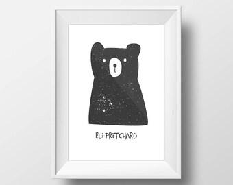 Name Custom Wall Art Black Bear Nursery Room Kids Toddlers