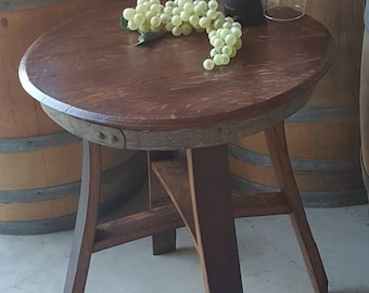 Wine Barrel Head End Table Side Table Occasional Table Furniture