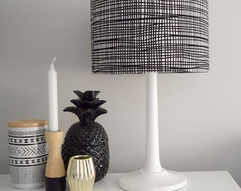 Lamp shades etsy au black crazy check lampshade blackcheck home decor black white check aloadofball Images