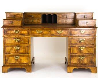 Antique Desk, Pedestal Desk, Victorian Walnut Desk, Scotland 1880, B922