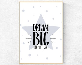 Dream Big Little One Nursery Wall Art, Printable Wall Art, Nursery Decor, Nursery Print Inspirational Quote, Instant Download Baby Girl Gift