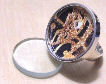 40 pcs silver tone circular Adjustable Ring Blank