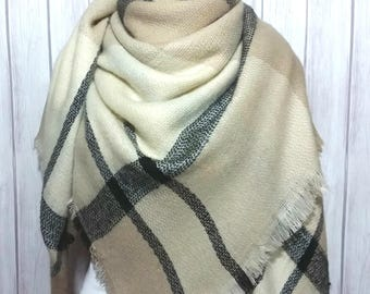 Beige & Black Blanket Scarf, Christmas Gifts for Men and Womens Oversized Large Winter Scarves
