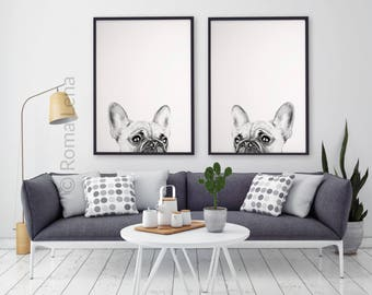 PEEKABOO Black and white poster set of 2 Brench bulldog wall art Watercolor painting art print Frenchie Lover Living room artwork home decor