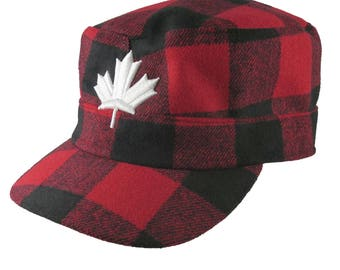 Canada 3D Puff White Maple Leaf Embroidery on a Red Buffalo Check Plaid Unstructured Fashion Military Cadet Cap Full Fit Lumberjack Style