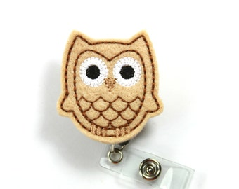 BROWN OWL Felt Badge Reel, Felt badge Holder, Owl badge holder, Brown owl badge reel, Badge Reel