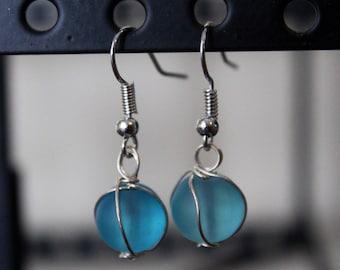 Simple Teal Dangle Earrings