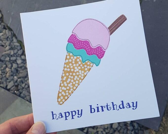 Ice Cream Birthday Card • Happy Birthday • Printed from Original Artwork • 6 inch square with brown kraft envelope • 300gsm