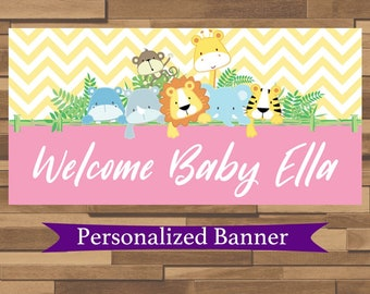"""18""""x36"""" Personalized Chevron Party Banner 