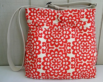 Super Awesome Diaper Bag - CUSTOMIZABLE - Everyday Shoulder Bag - Travel Bag -Amy Butler Wallflower in Cherry - 9 pockets