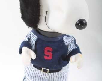 Snoopy, Baseball Costume, Plastic Toy, Dog Toy, White Dog, Children, Collection, Vintage, Nostalgia, FLAW ~ SS008