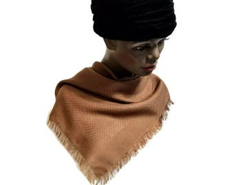 Vera Scarf Brown Tan Fringed Textured Weave