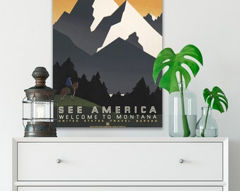 CANVAS WPA Poster, See America Vintage Wall Art, Canvas Art Print, 1930s Vintage Travel Poster, Vintage Wall Decor, Retro Posters (WPA13)