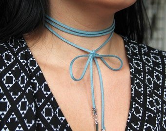 Blue Suede Wrap Choker Necklace with Spike Detailing