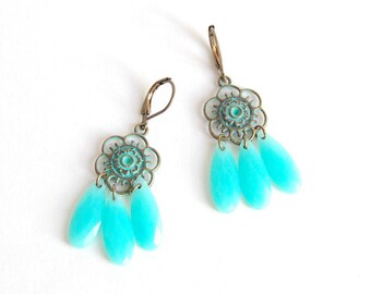 Shaman - Earrings Bohemian bronze and turquoise color with flowers and Pearl drops