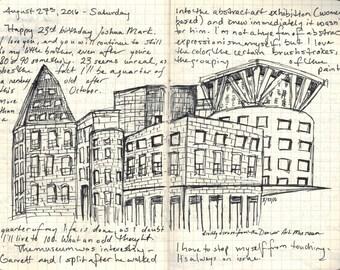 "Fine Art Print of Ink Drawing from Artist Travel Journal - ""Denver, Colorado"""
