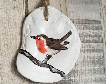 Hand Painted Robin on Sea Worn Oyster Shell - Christmas Decor