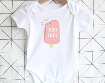 Too Cool Baby Bodysuit, Summer Baby Onesie, Cotton Clothing, Baby Shower Gift, Ice Cream Shirt, Pink, Baby Girl Gift, Cute Newborn Clothing