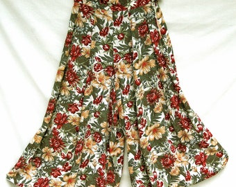 Vintage High Waisted Palazzo Pants Women Rayon Floral Wide Leg 80s 90s Clothing Flowy Harem Pants