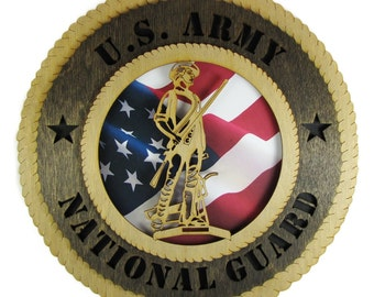 Army National Guard Laser Cut Military Wall Plaque with American Flag - May be Personalized or Customized