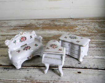 Miniature Furniture, Doll House Furniture, 3 Pc. China Furntiure Set, Painted China Furniture Sofa, Dresser, Piano, Miniatures, Doll House