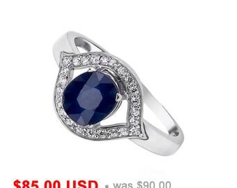 Evil Eye Ring Sapphire Ring Gemstone Promise Ring for Her Blue Stone Ring for Mom September Birthstone Ring for Girlfriend Protection Ring