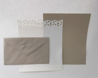 Hallmark Taupe & White Stationery Set, 25 Letter Sheets and Plain Sheets with 12 Envelopes, Snail mail PenPals, Wedding Thank You Notes