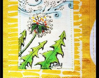AMY: Hand painted linen/cotton napkin of Dandelion. Table-runner, gift basket, bread basket. One of a kind. Handmade. Original art.