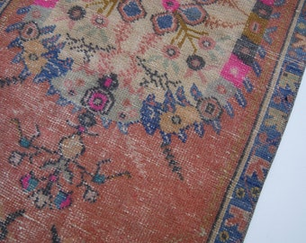 "4'10""x2'4"" Muted Pink and Blue Floral Turkish Vintage Oushak Rug"