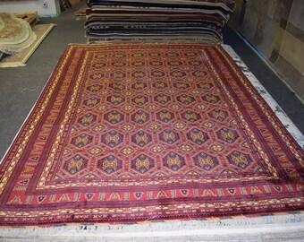 Elegant hand knotted Afghan Turkoman rug 100% Belgium Wool