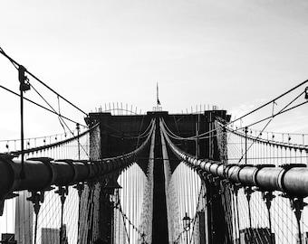 Brooklyn Bridge - New York - Fine Art Photography Print - New York Photography - Travel - Black and White - New York Print  - Bridge