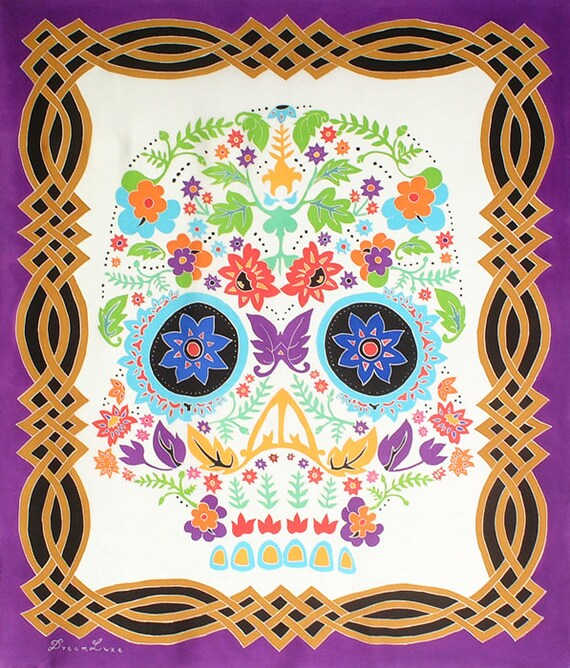 Flower skull hand painted silk scarf with colorful floral design