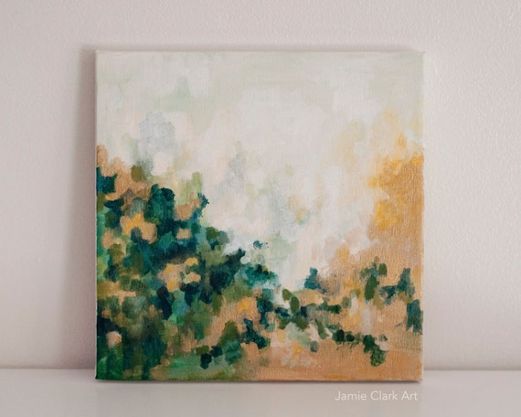 """Original 10x10 Painting """"Green and Gold No. 1"""" FREE SHIPPING"""