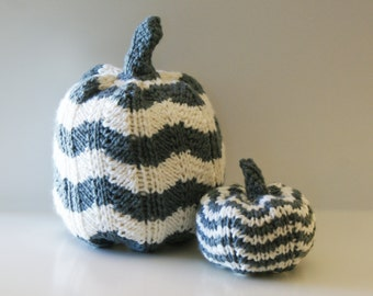"DIY Knitting PATTERN - Chevron Knit Pumpkins for Thanksgiving (in 5"", and 7"" diameter)"