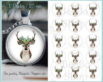 """Christmas Bottle Cap 1 """" Digital Collage / Images.  Woodland  / Deer theme.  Perfect for jewelry, magnets, scrapbooking, etc!"""