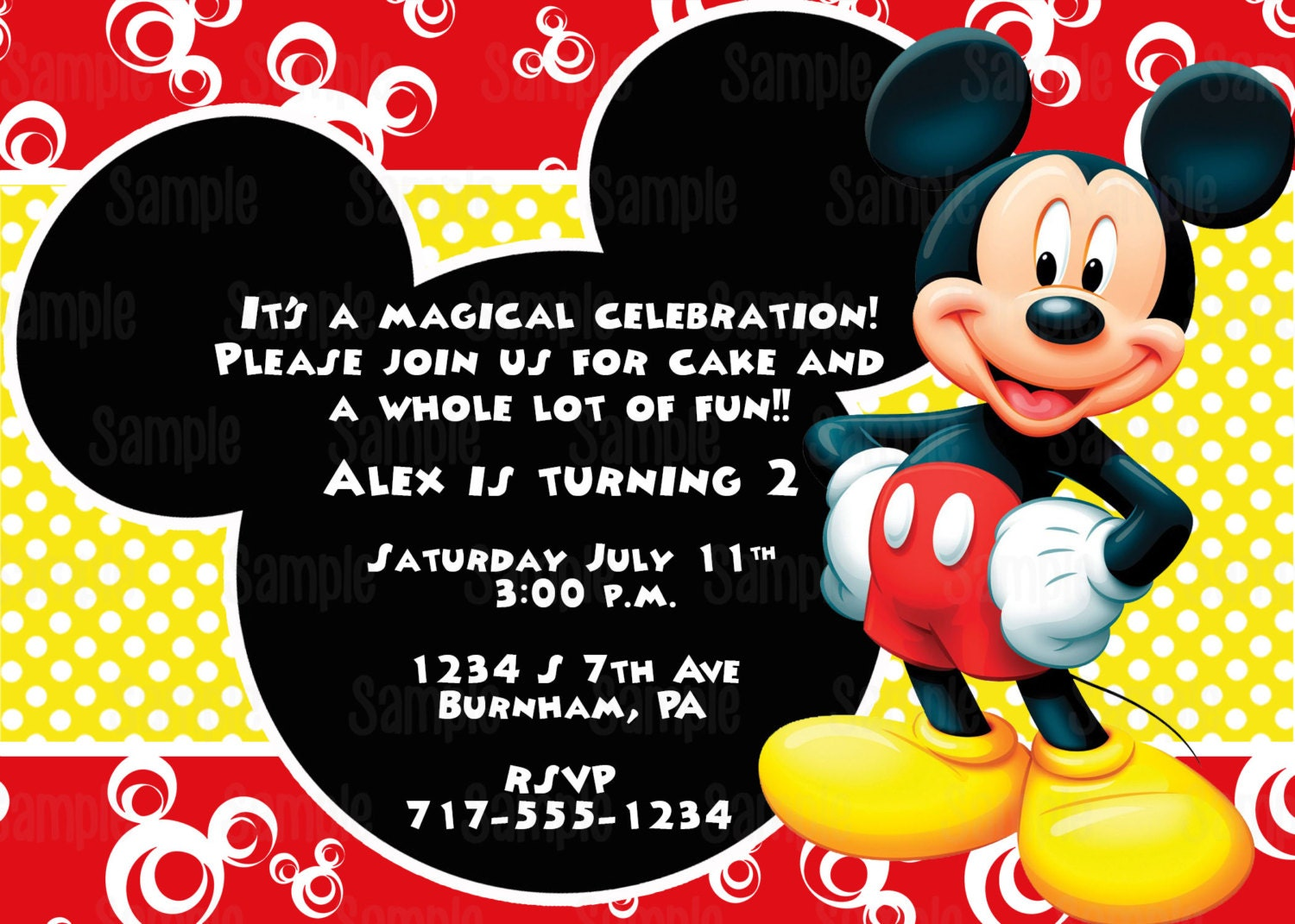 printable mickey mouse invitation plus free blank matching