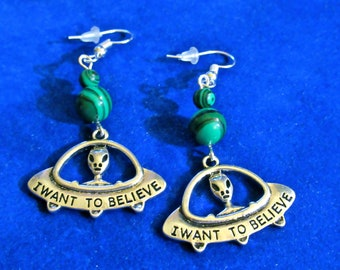 I Want to Believe Malachite Bead Dangle Earrings UFO Flying Saucer