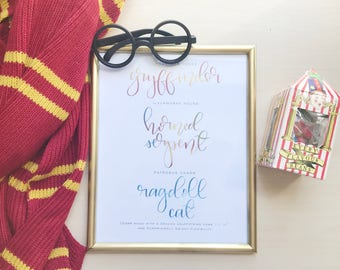 Handlettered Magical Traits, Magical Schools, Witchcraft and Wizardry, Patronus Charm, Magical Quiz Results, Custom Print: My Magical Traits