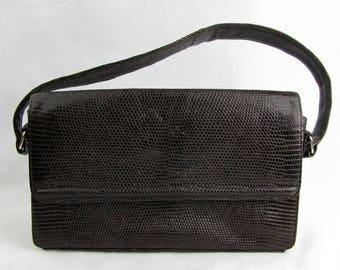 Vintage 1950 Leather Snake Skin Koret Handbag / Coin Purse / Dark Brown / 1950s / Single Top Handle / Inside Pockets / Snap Closure
