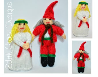 Christmas Toy Knitting Pattern, St Lucia, Swedish Christmas, Christmas Folk Elf, Rag Doll, Scandinavian Doll Knitting Pattern, Knit Doll