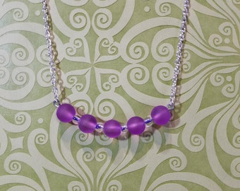Purple Frosted Glass Necklace