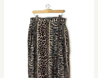 ON SALE Vintage Animal pattern Rayon  wrap Pencil Skirt  from 1980's/Cheetah/tiger/W30-33*