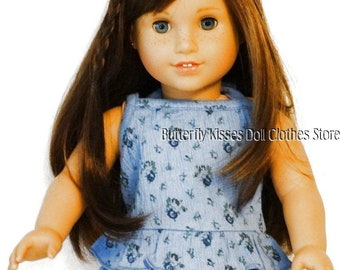 18 Inch Doll Clothes Fits American Girl Blue Flower Ruffle Halter Top