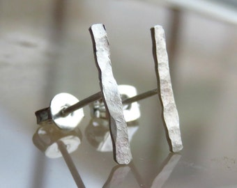 Sterling Silver Bar Stud Earrings - Silver Bar Post Earrings // Bar Earrings - Simple Stud Earrings