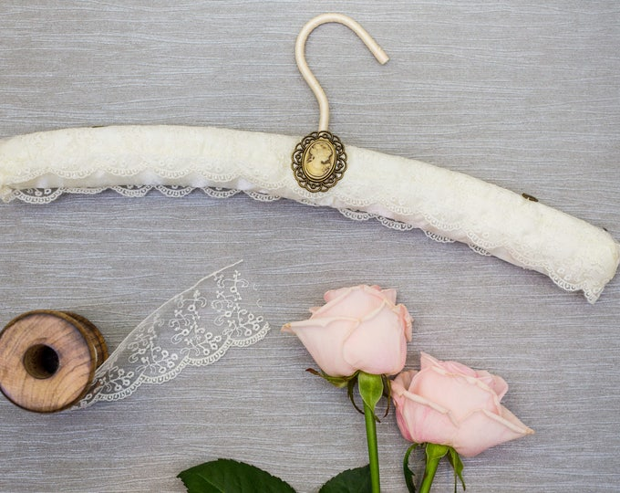 Ivory Tulle Embroidered Lace Wedding Hanger with Vintage Cameo Embellishment