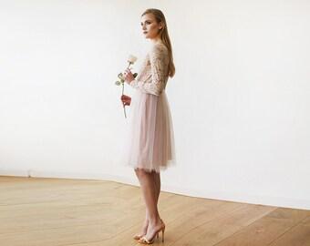 Blush Pink Tulle & Lace Midi Long Sleeves Dress, Midi blush bridesmaids dress 1144