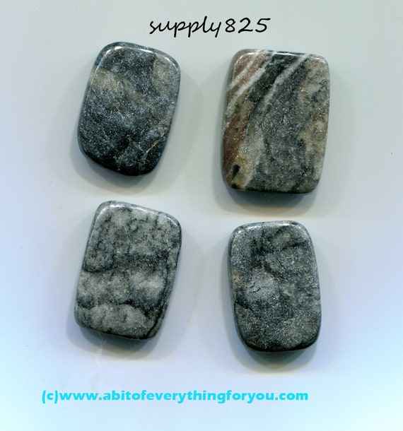 rectangle black & gray marble beads, loose beads, gemstone bead pendant stone charm 15 x 25mm 4 pc jewelry findings