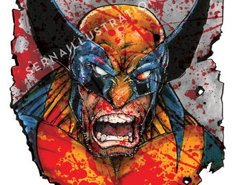 "Wolverine - Bloody Wolverine - Color Art Print - 11"" x 17"""