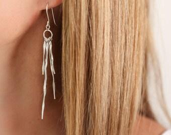 Twisted, Silver Earrings, Silver earrings, unusual earrings, long earrings, silver jewellery, unusual jewellery, drop earrings, earring gift