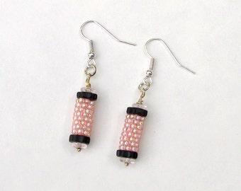 Pink Beaded Earrings - Pink Peyote Earrings - Peyote Tube Earrings